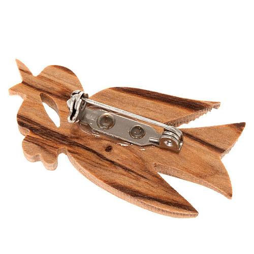 Spilla legno olivo colomba 2