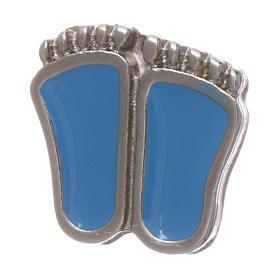 Spilla piedini di bimbo smaltata azzurro s3
