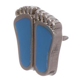 Spilla piedini di bimbo smaltata azzurro s4