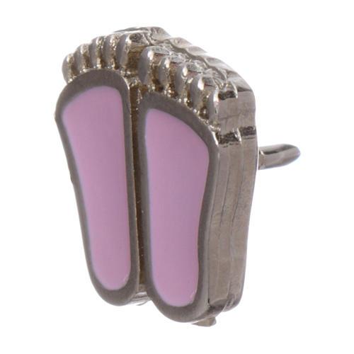 Broche pies de niño esmaltado rosa 4