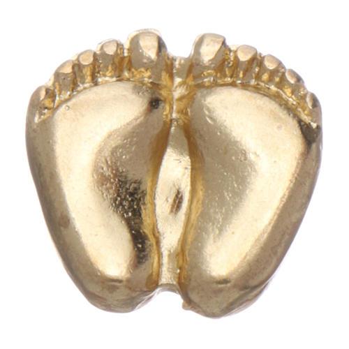 Broche pies de niño esmaltado oro 3