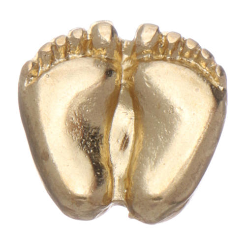 Spilla piedini di bimbo smaltata oro 3