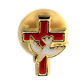 Communion brooch with dove and red cross s1