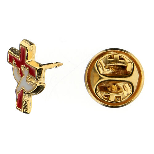 Communion brooch with dove and red cross 2