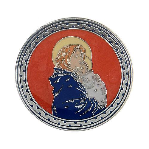 Spilla Madonna col Bambino smalto rosso 1