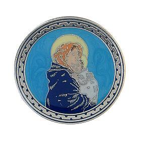 Spilla tonda Madonna Bambino smalto turchese s1