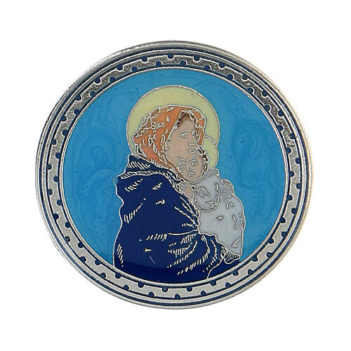 Spilla tonda Madonna Bambino smalto turchese 1