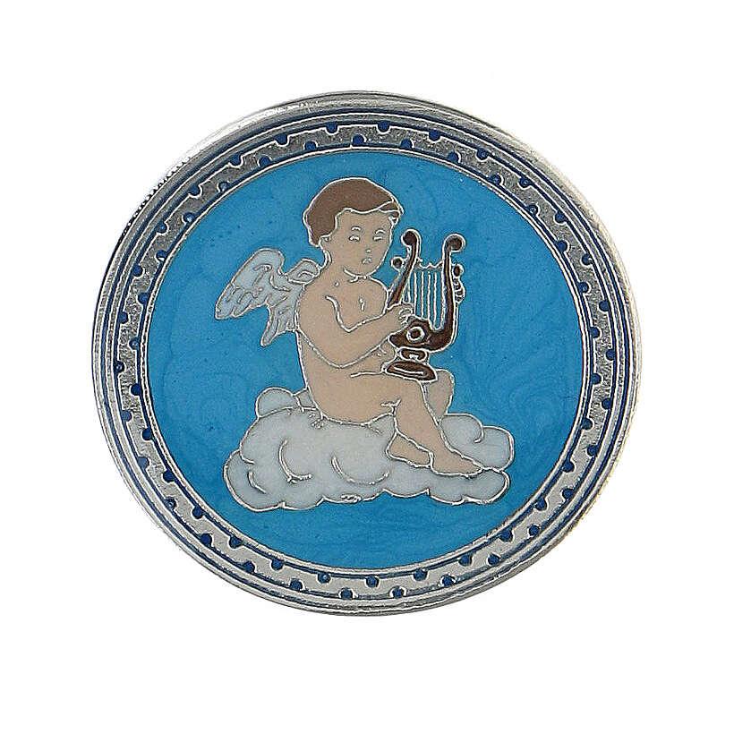 Spilla smaltata angelo lira sfondo turchese 4