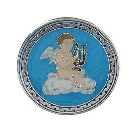 Spilla smaltata angelo lira sfondo turchese s1