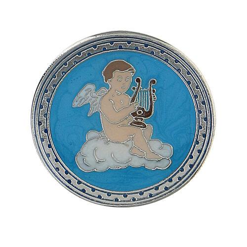 Spilla smaltata angelo lira sfondo turchese 1