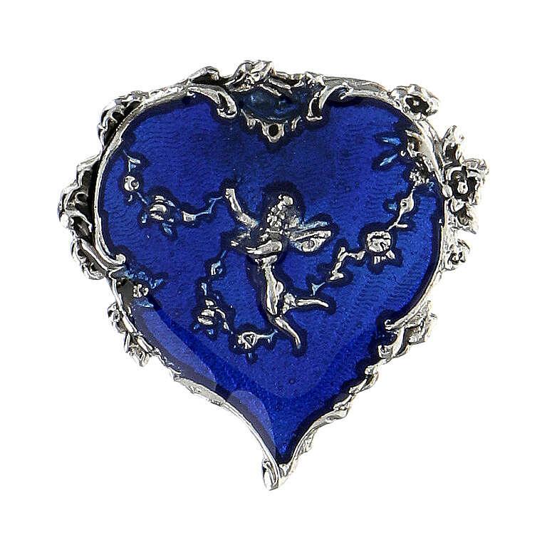 Spilla cuore smalto blu angelo fiori 4