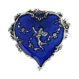 Spilla cuore smalto blu angelo fiori s1