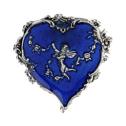 Spilla cuore smalto blu angelo fiori 1