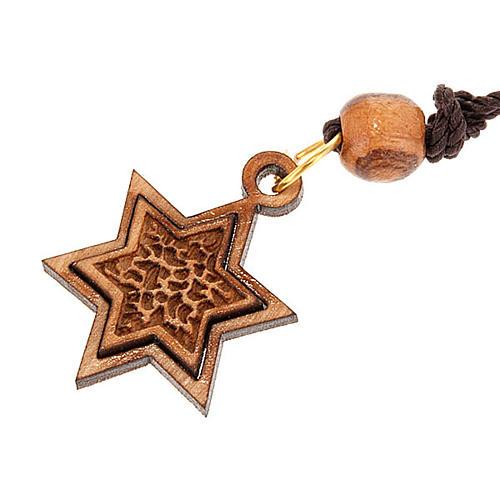 Pendantif étoile de David bois d'olivier 1