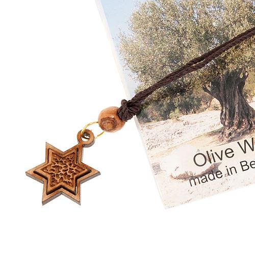 Pendantif étoile de David bois d'olivier 2