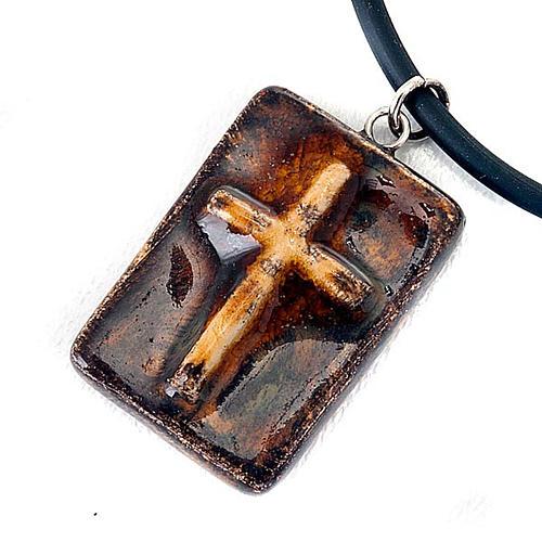 Pendentif céramique rectangulaire avec croix 3