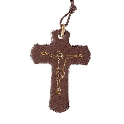 Croce pendente cuoio e cordino 1