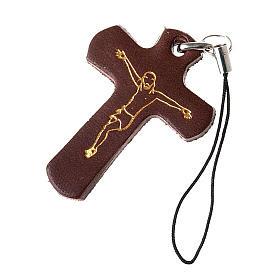 Porte-clés: Pendentif croix en cuir Medjugorje pour téléphone