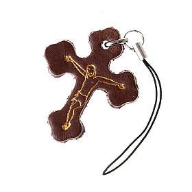 Porte-clés: Pendentif en croix trois lobes cuir,pour téléphone