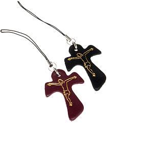 Porte-clés: Pendentif en croix tau cuir,pour téléphone