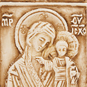 Medalla de piedra de la Virgen con el Niño Belén s2
