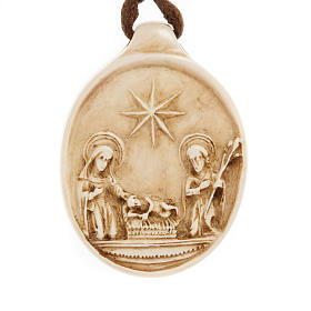 Pingentes Vários: Medalha redonda pedra Natividade Belém
