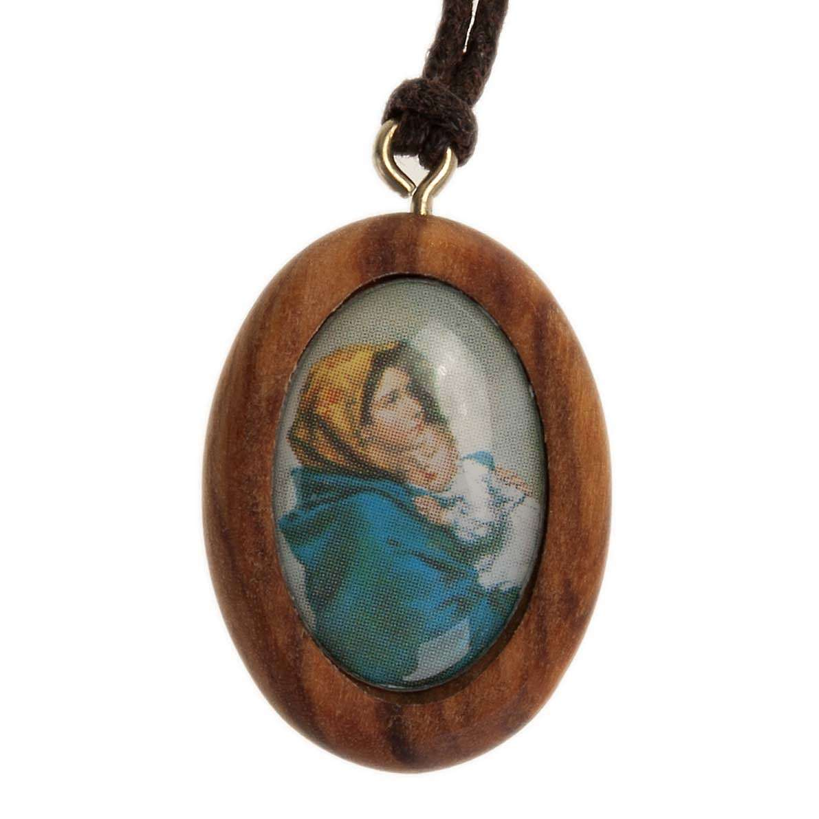 Olive pendant, oval with Ferruzzi's Madonna 4