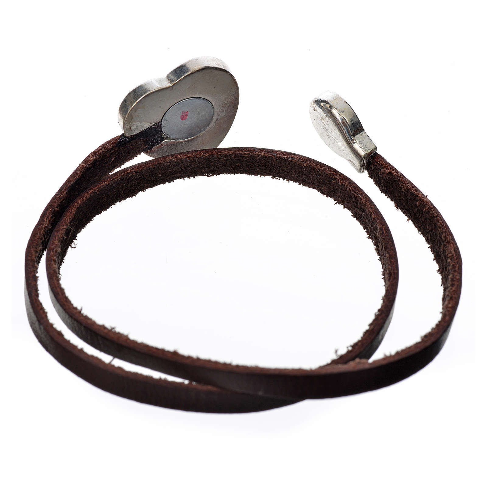 Choker necklace in dark brown leather with Virgin Mary pendant 4
