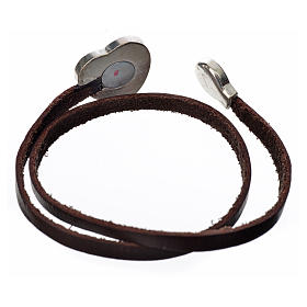 Choker necklace in dark brown leather with Virgin Mary pendant s2
