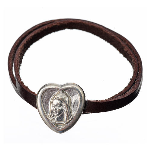 Choker necklace in dark brown leather with Virgin Mary pendant 1