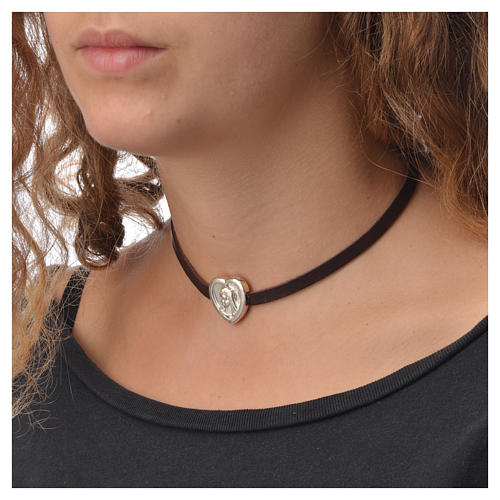 Choker necklace in dark brown leather with Virgin Mary pendant 3