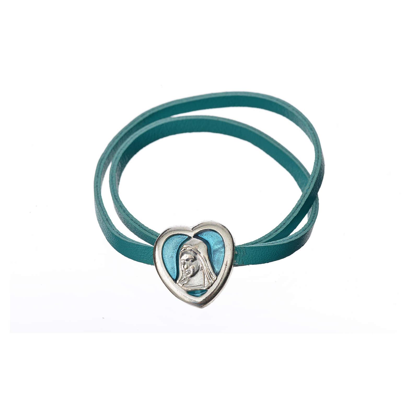 Gargantilla cuero azul placa Virgen 4