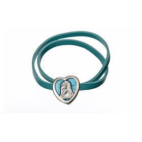 Gargantilla cuero azul placa Virgen s4