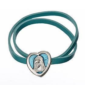 Gargantilla cuero azul placa Virgen s1