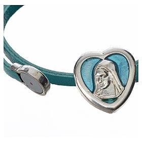 Gargantilla cuero azul placa Virgen s2