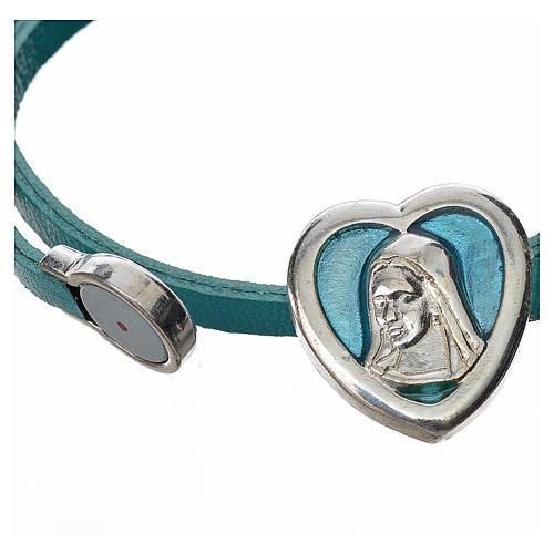 Gargantilla cuero azul placa Virgen 2