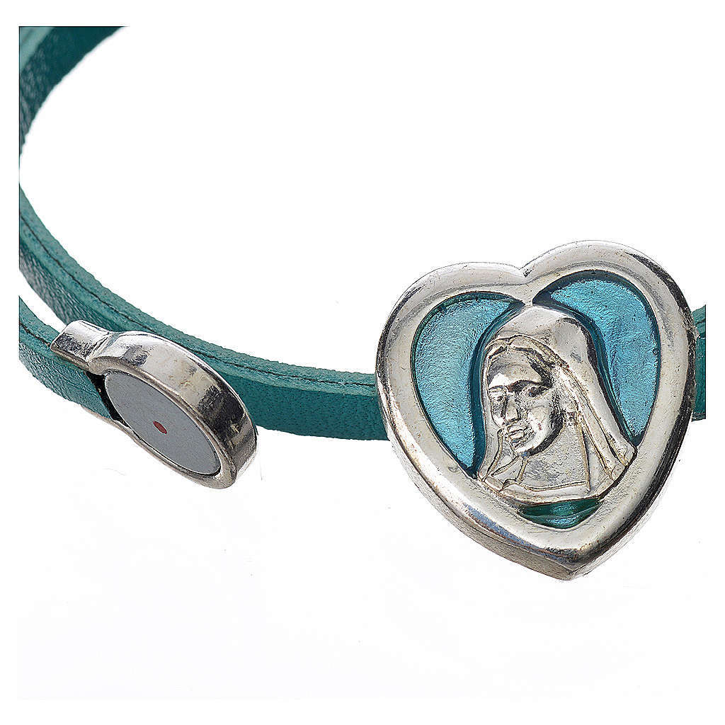 Choker necklace in light blue leather with Virgin Mary pendant 4