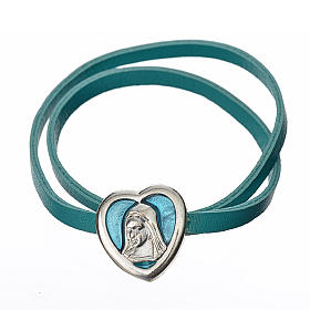 Choker necklace in light blue leather with Virgin Mary pendant s1
