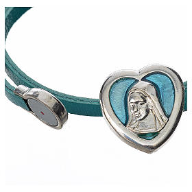 Choker necklace in light blue leather with Virgin Mary pendant s2