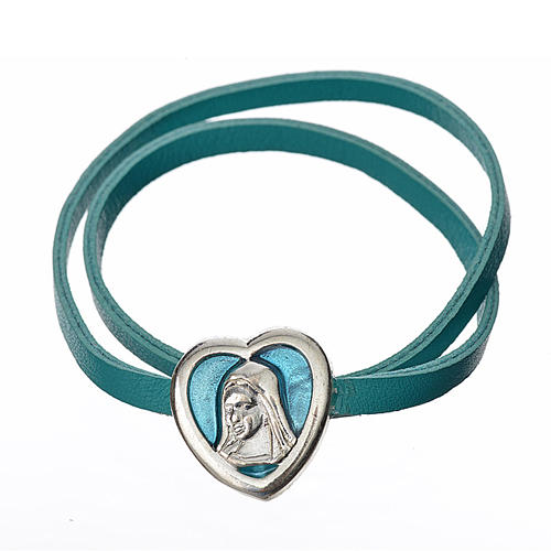 Choker necklace in light blue leather with Virgin Mary pendant 1