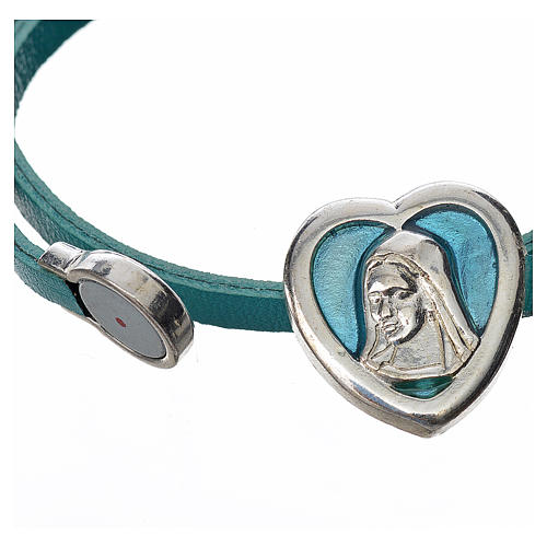 Choker necklace in light blue leather with Virgin Mary pendant 2