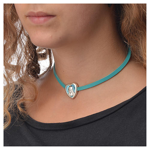 Choker necklace in light blue leather with Virgin Mary pendant 3