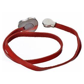 Gargantilha couro vermelho placa Virgem s2