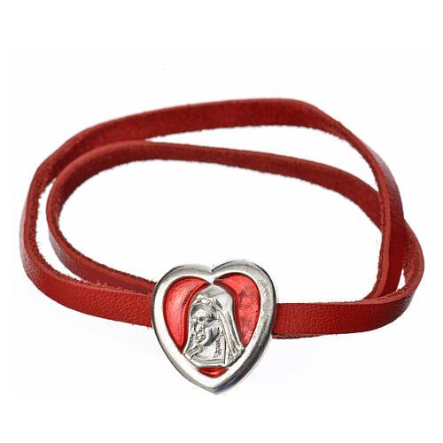 Gargantilha couro vermelho placa Virgem 1