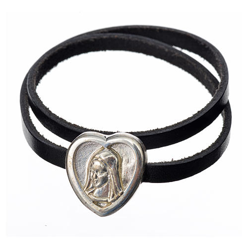 Choker necklace in black leather with Virgin Mary pendant 1