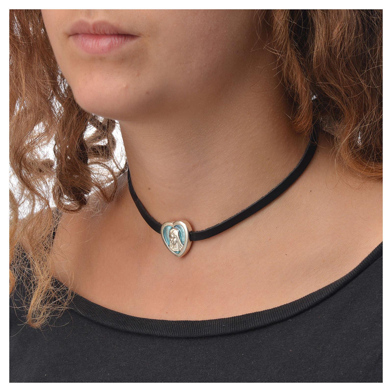 Choker necklace in black leather Virgin Mary pendant blue enamel 4