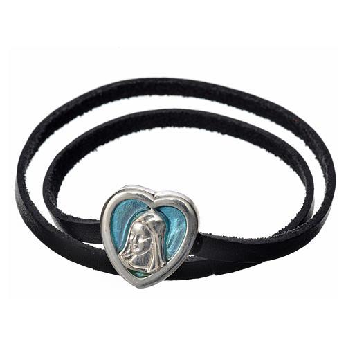 Ras-de-cou cuir noir image Vierge Marie émail bleu clair 1