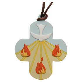 STOCK Croix Confirmation St Esprit résine coloré avec corde 7x6 cm s1