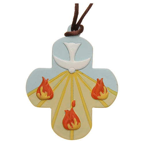 STOCK Croix Confirmation St Esprit résine coloré avec corde 7x6 cm 1