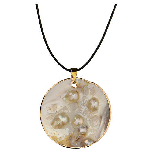Pendant White Lily natural mother-of-pearl 2